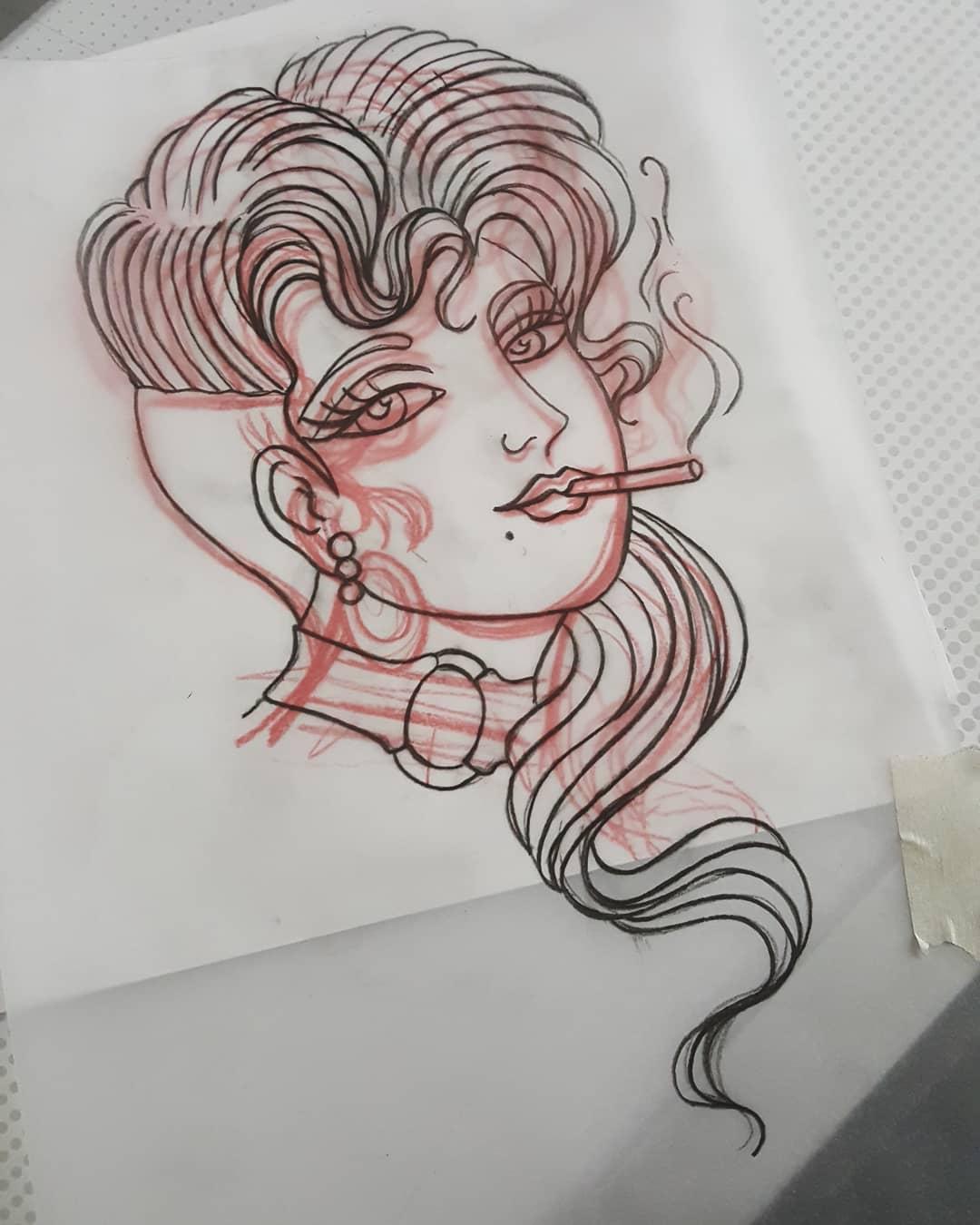 谈明星oldschool漫画纹身美女手稿狗先生图片