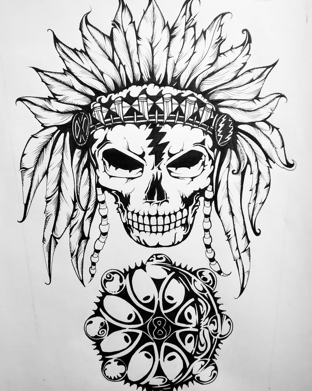 印第安骷髅纹身手稿