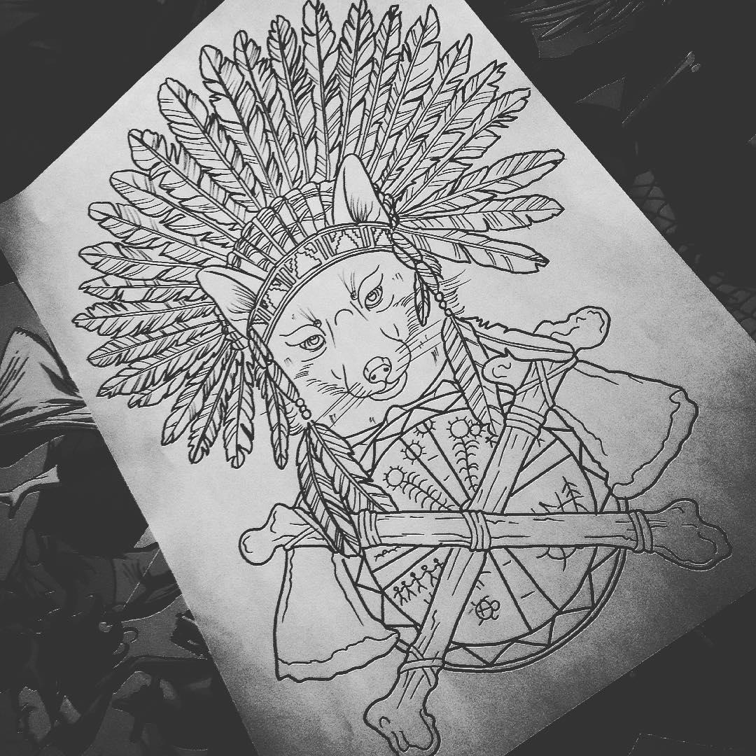 印第安狼纹身手稿图片