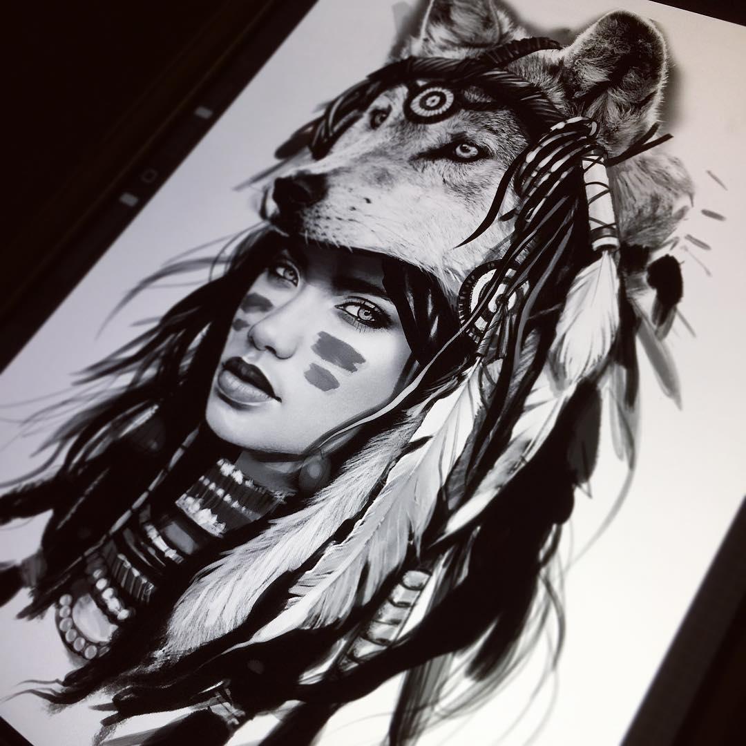 印第安美女狼首纹身手稿图片